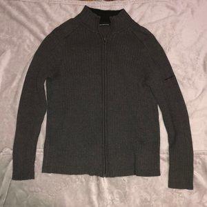 DKNY Men's Grey Zip Up Sweater